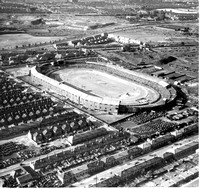 West Ham Stadium (looking north-east towards East Ham) during a speedway meeting. 24 June 1947.
