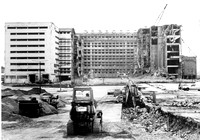 Demolition of flour mills. Royal Victoria Dock.