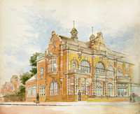 Manor Park. Drawing of proposed new library by AH Campbell, East Ham Borough Engineer.