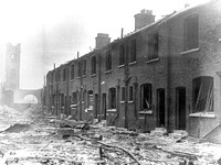 Silvertown Explosion 1917. Backs of firemen's dwellings & Silvertown Fire Station.