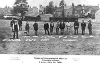 Plaistow Triangle Camp. Types of unemployed men at the Triangle Camp. 24 July 1906.