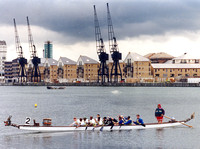 Dragon Boat Racing in the Royal Docks. June 1999.