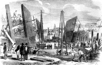 Construction of the Royal Victoria Dock. 1854.