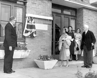 The Queen Mother visiting the Guinness Trust sheltered housing estate, Plaistow Road. 21 June 1955.